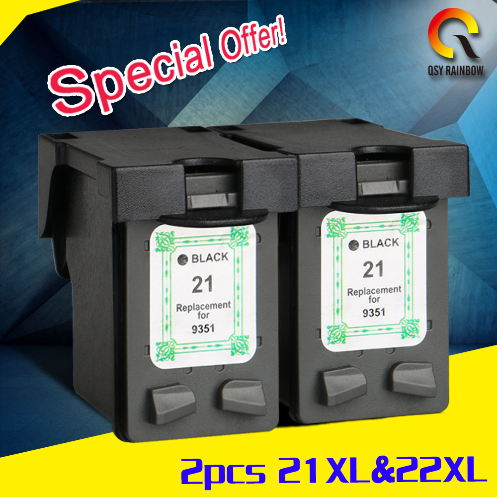 2 black ink cartridges compatible for hp 21xl deskjet f2180 f2280 f4180 f4100 f2100 f2200 f300. Black Bedroom Furniture Sets. Home Design Ideas