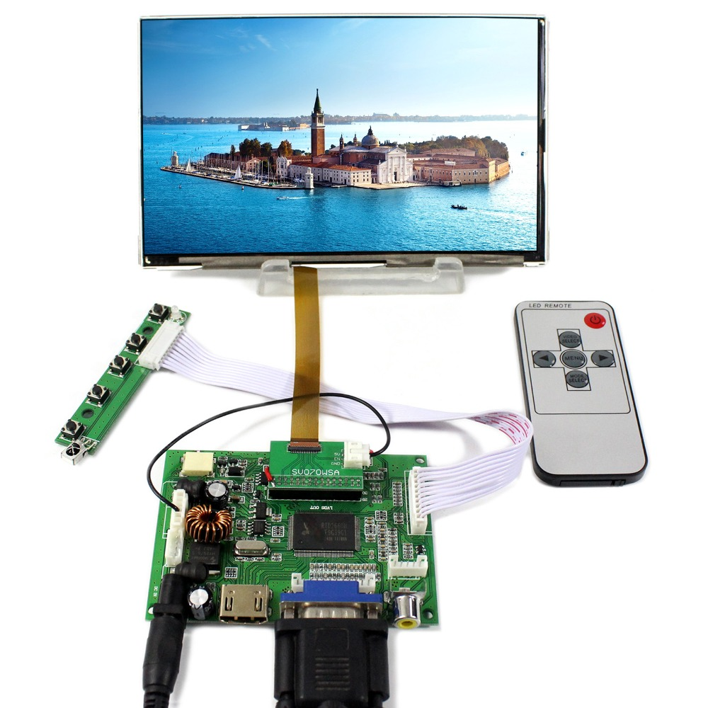 HDMI VGA 2AV LCD Controller Board With 7inch HV070WSA 100 1024X600 IPS LCD Screen
