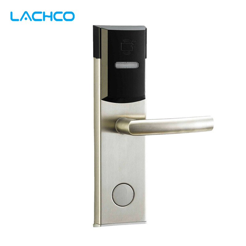 LACHCO Smart Card Door Lock Electronic Digital Lock Free-Style Handle For Home Office Hotel Room L16039BS lachco card hotel lock digital smart electronic rfid card for office apartment hotel room home latch with deadbolt l16058bs