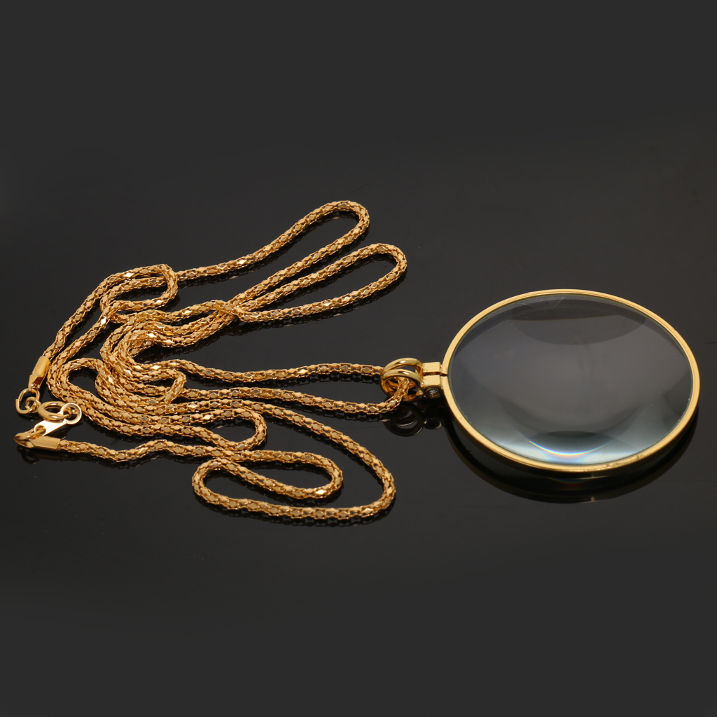 Magnifying Glass 6x Magnifier Pendant Loupe With Golden Chain Monocle Necklace Jewelry