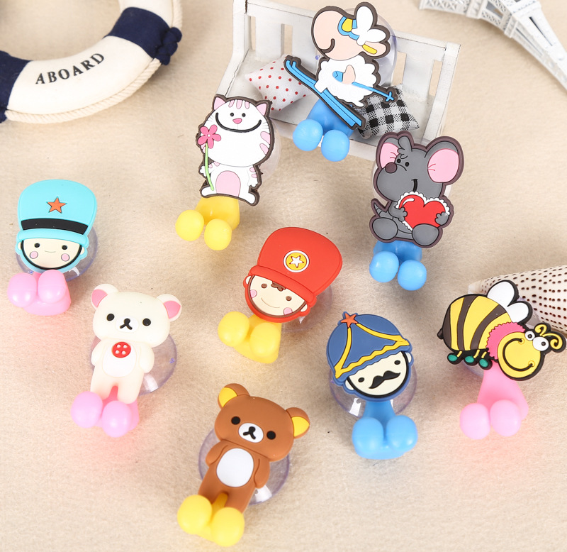 Cartoon sucker toothbrush holder suction hooks Multifunctional Animal suction cup Children bathroom set accessories Eco-Friendly image