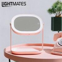 2018 Новый светодиодный зеркало для макияжа складной портативный Принцесса лампы Зарядка Настольная лампа с ночник украшения спальни огни