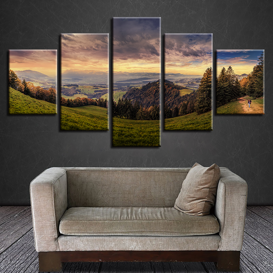 Modern Home Wall Decor Pictures 5 Pieces HD Printing Forest Mountain Green Natural Landscape Canvas Paintings Modular Poster Art no frame canvas