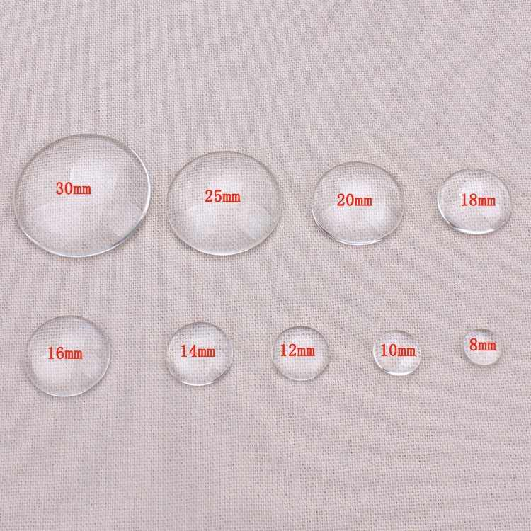 5pc/lot 8/10/12/14/16/18/20/25/30mm round clear Glass Cabochons Glass Domed Round Transparent Clear Magnifying Glass Cabochon