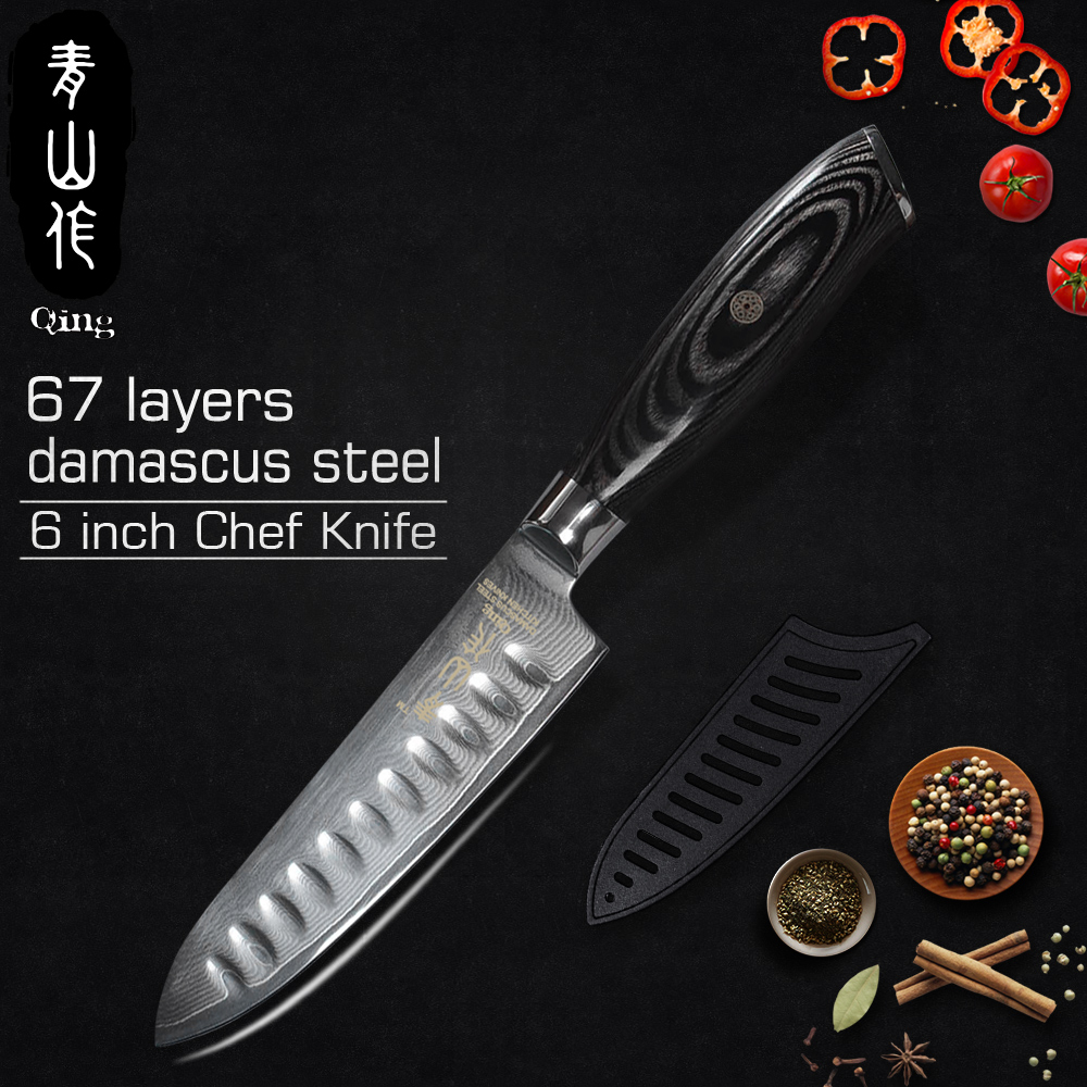 QING 67 couche VG-10 Japonais Damas Couteau En Acier Haute Teneur En Carbone Rasoir Sharp Chef Cuisine Couteau Fruits Utilitaire Trancheuse Couteaux Vente