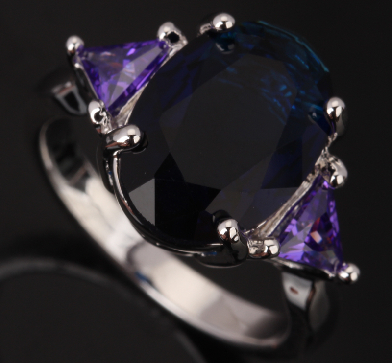 Superb Oval Egg Form Blue Fashion & Purple Cubic Zirconia 925 Sterling Silver Womens Party Jewelry Rings Size 6 7 8 9 S0091