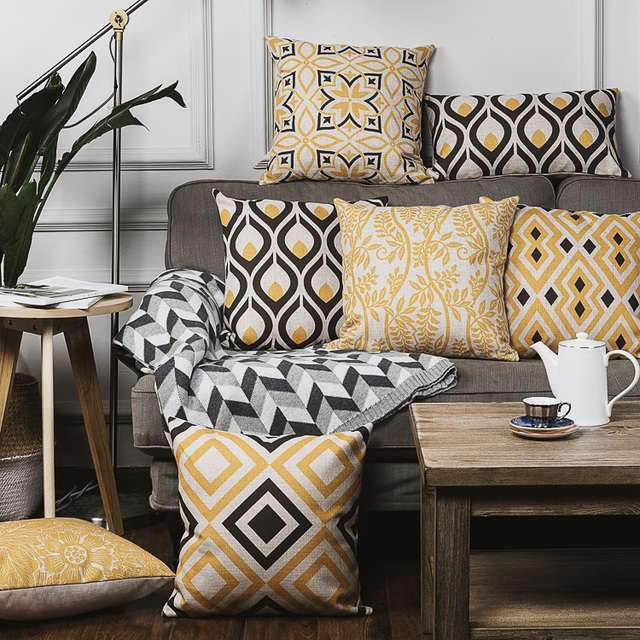 Yellow Decorative Throw Pillows Black And White Geometric Cushion Interesting Yellow Decorative Pillows Couch