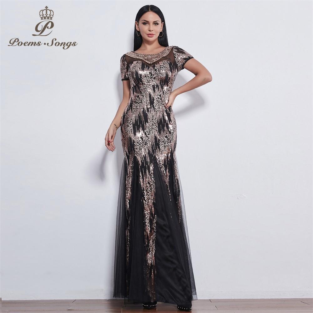 Poems songs backless sexy excellent remarkable Formal party   dress   Long Sequin vestido de novia long elegant   evening     dress   2019