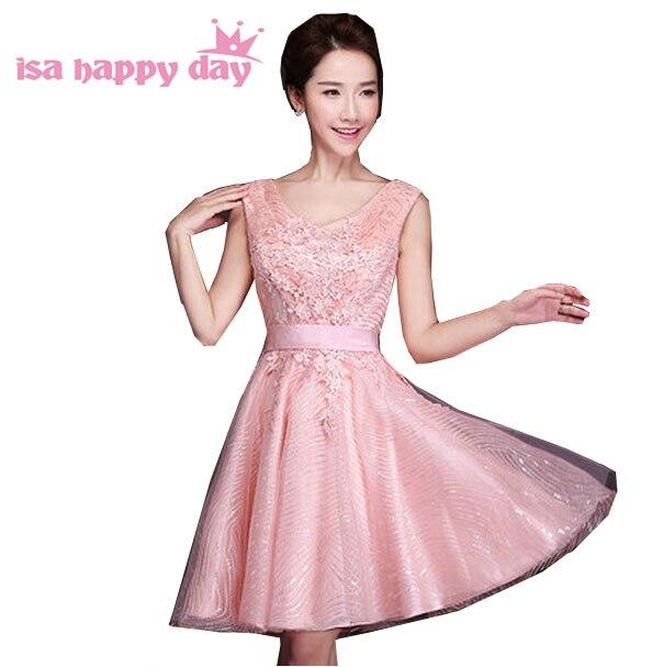 3147009d68 pink sparkly 2017 modest formal v neck classy short puffy princess ...