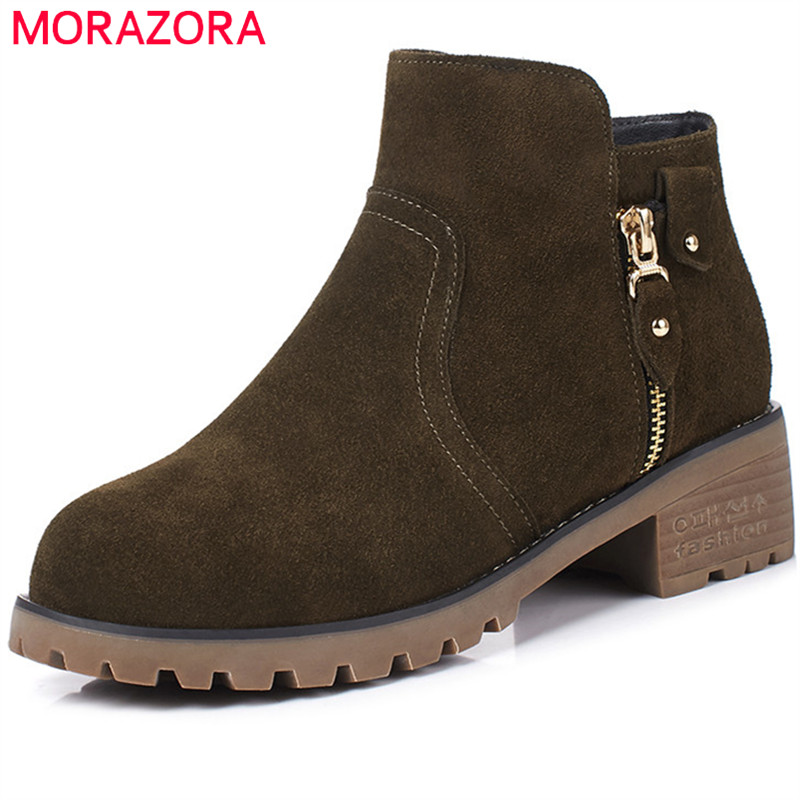 MORAZORA Boots female cow suede fashion shoes zip solid leather boots spring autumn med heels shoes ankle boots for women