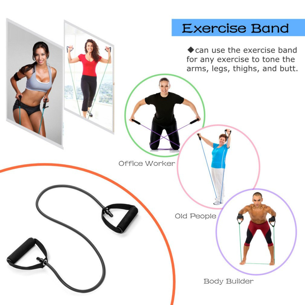 Fitness Exercise Elastic Resistance Bands Arm Legs Strength Toning Home Workout