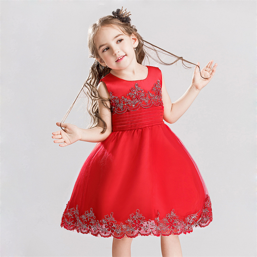 2017 New Girls Red Princess Dresses Kids Embroidered Clothes Kids Formal Dress for Birthday Party Wear Clothes Children Costume girls europe and the united states children s wear red princess long sleeve princess dress child kids clothing red bow lace