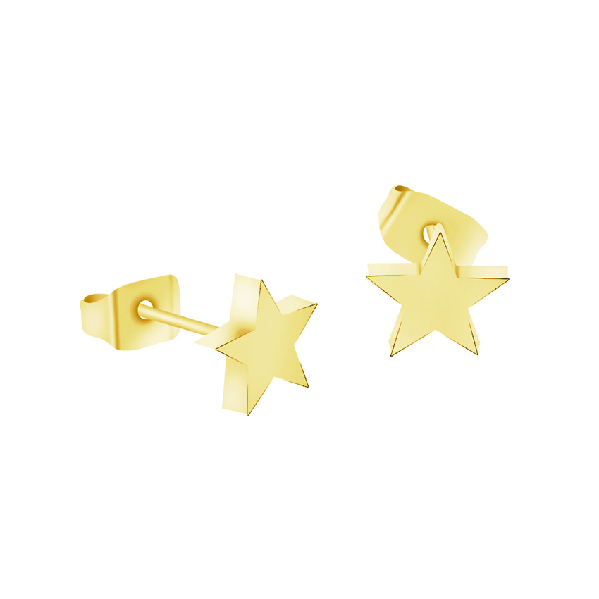 گوشواره های ستاره ای استیل Oorbellen از جنس استیل ضد زنگ طلای بدون برنز طلای ICFTZWE ساده برای زنان Aros جواهرات بدن