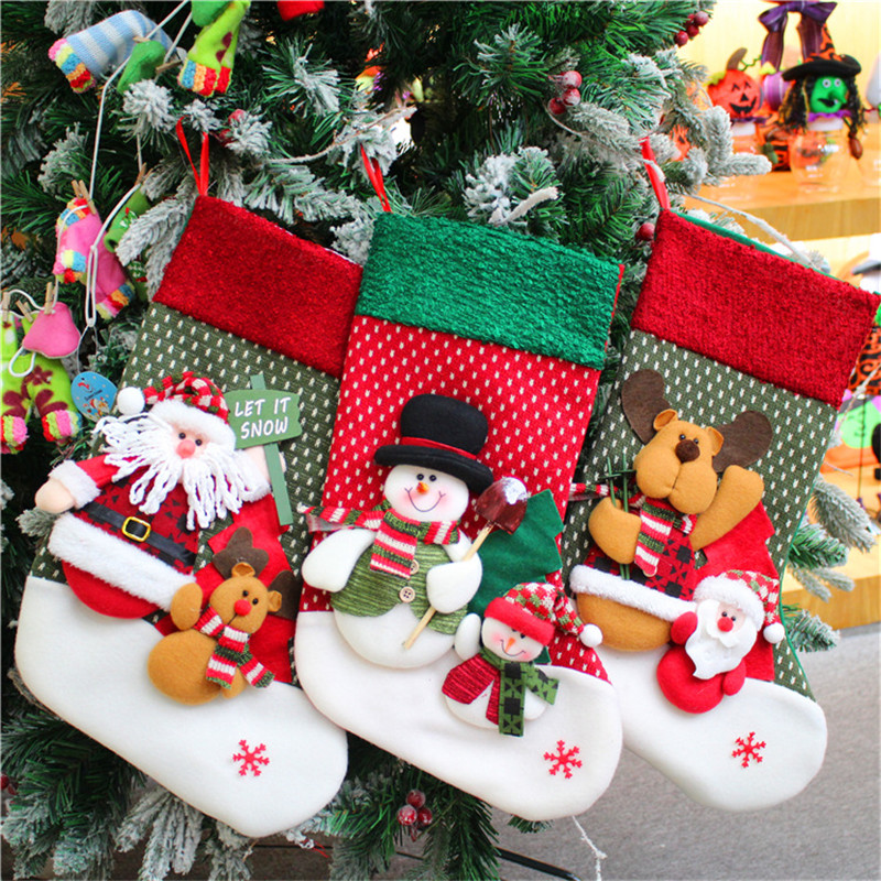 10Pcsset Cute Santa Snowman Pendant Christmas Stockings Socks New Year Candy Gift Bag Home Christmas Tree Decor Toys Xmas Gifts
