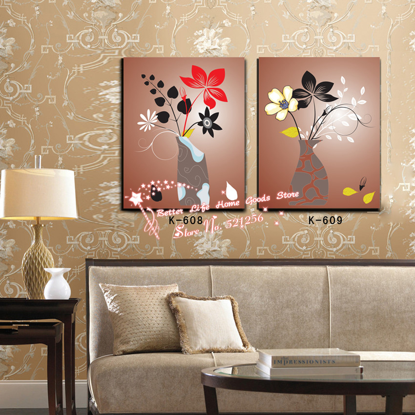 Modern Wall Art Home Decoration Printed Oil Painting Pictures 2 Piece Abstract Simple Flower and Vase Living Room Wall Decor