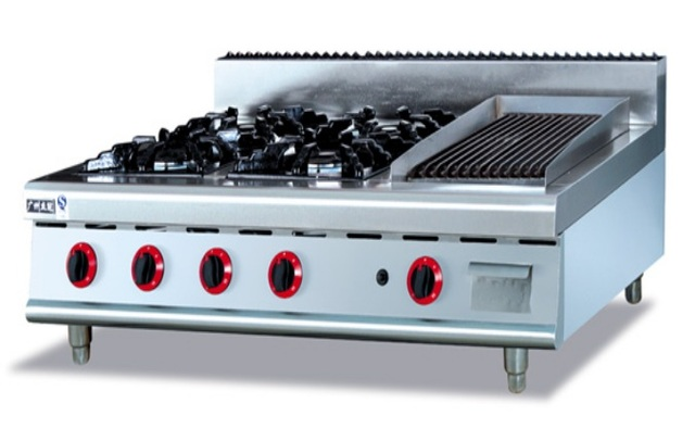 Stainless Steel Gas Range 4 Burners And Lava Rock Griddle Counter Top