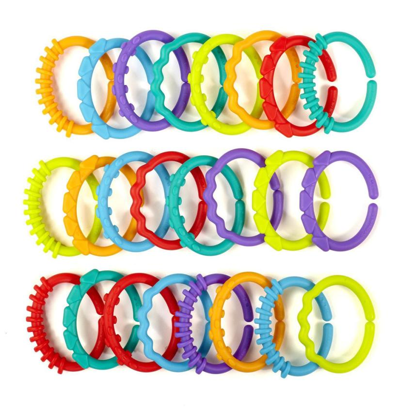 24pcs/lot New Rainbow Ring Connected With The Hand Ring Baby Car Hanging Kids Bed Hanging Card Teether Toys For Children
