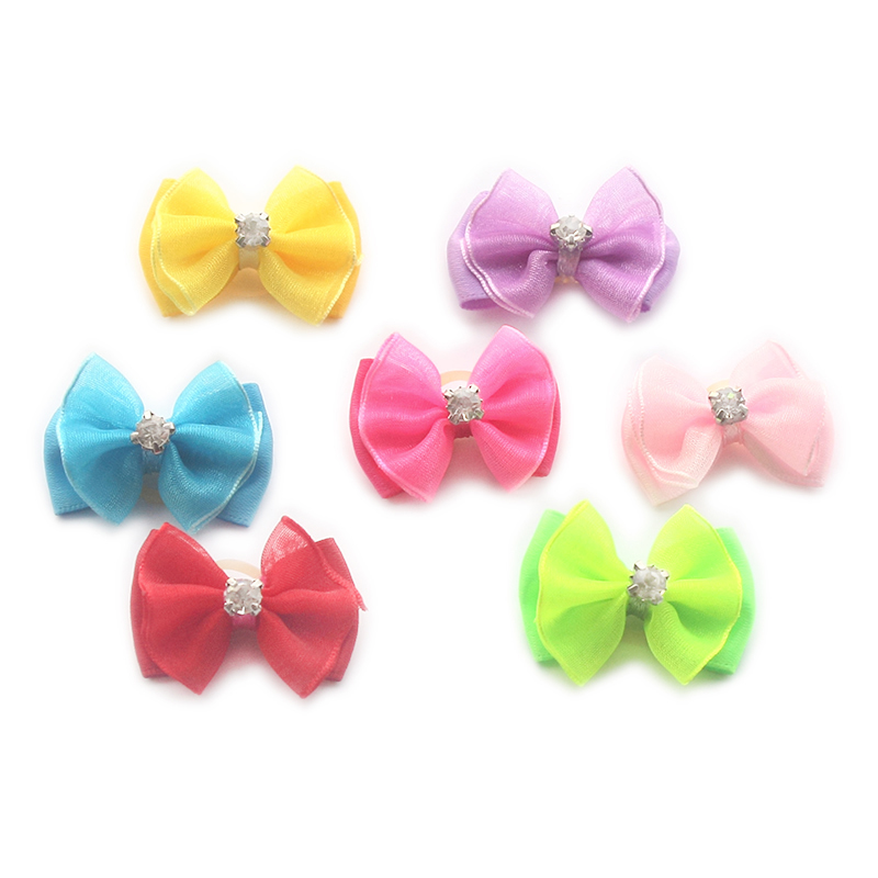 Armi store Handmade Accessories Rhinestone Variety Of Colors Style Ribbon Dog Bow Dogs G ...
