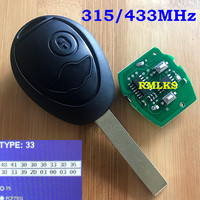 For BMW 2 Button Remote Key For MINI COOPER S R50 R53 ONE FULL REMOTE KEY 2 BUTTON FOB 433MHz 315Mhz + CHIP 7931 New with Code