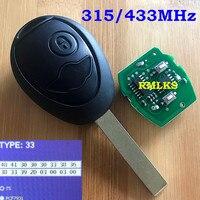 Para bmw 2 botão remoto chave para mini cooper s r50 r53 um completo remoto chave 2 botão fob 433 mhz 315 + chip 7931 novo com código