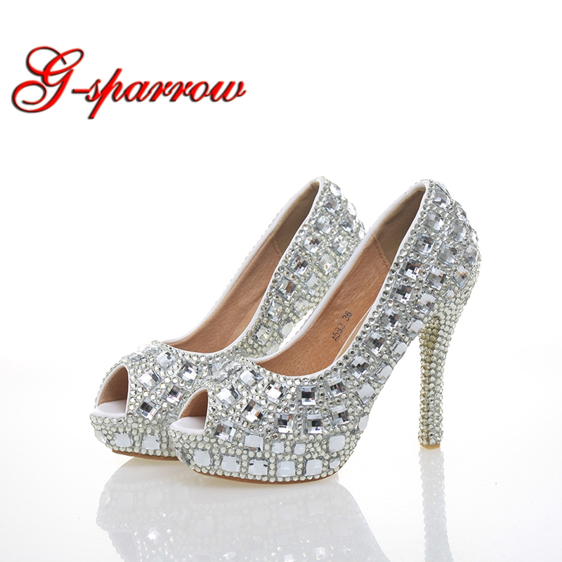 Silver Rhinestone Peep Toe Woman High Heels Wedding Party Prom Bride Shoes Crystal 4 Inches Cinderella Prom Pumps Open Toe