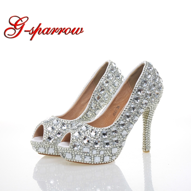 340790ee067 Silver Rhinestone Peep Toe Woman High Heels Wedding Party Prom Bride Shoes  Crystal 4 Inches Cinderella