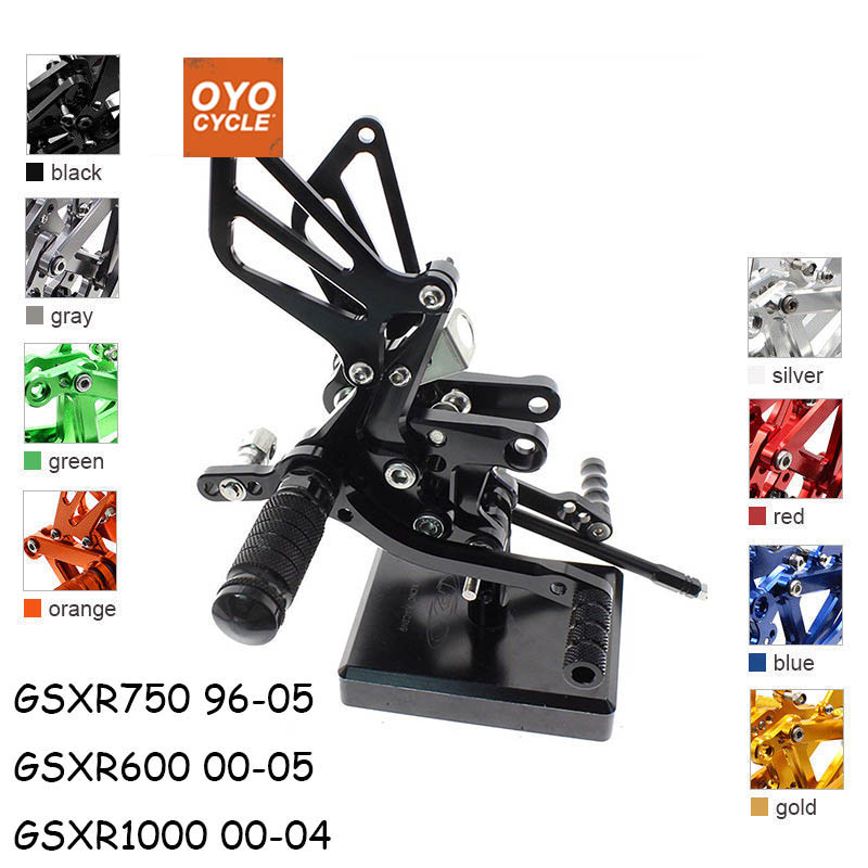For Suzuki GSXR 600 750 1000 SV1000/S SV650/S CNC Aluminum Adjustable Rear Set Foot Pegs Pedal Footrest Rearset cnc aluminum motorcycle adjustable rearset rear set foot pegs pedal footrest for kawasaki ninja 650 ex650 er 6n er 6f 2012 2016