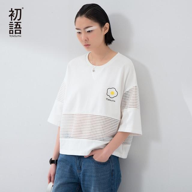 Toyouth 2017 Nuevas Camisetas de Las Mujeres Ahueca Hacia Fuera Las Camisetas Del O-cuello de la Media Manga Del Batwing Camisetas de La Moda Mujer Plus Size Tops