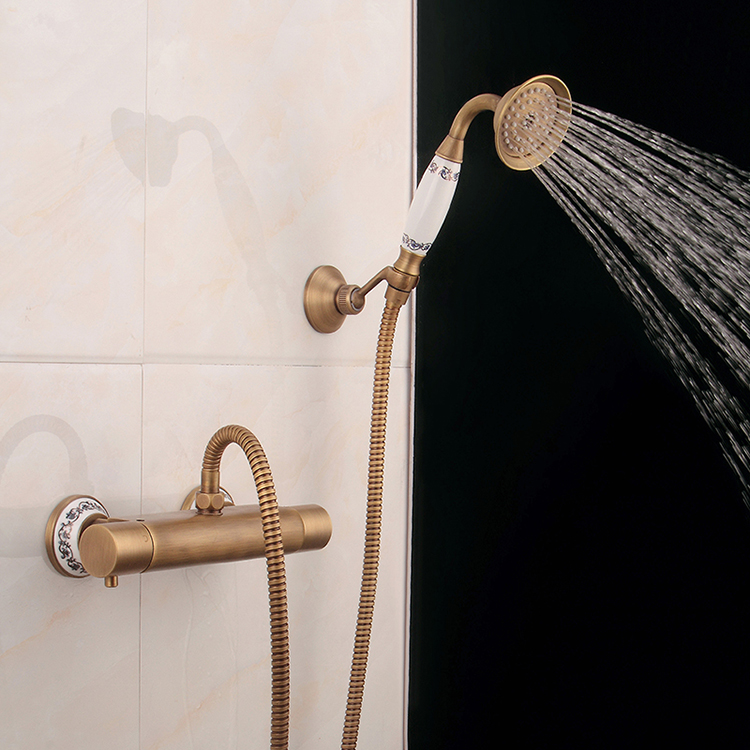 Bronze Thermostatic Shower Mixing Valve: Antique Bronze Bath Shower Set Wall Mount Thermostatic