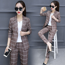 Set 2018 Spring New Style Women's Fashion Plaid Small Suit