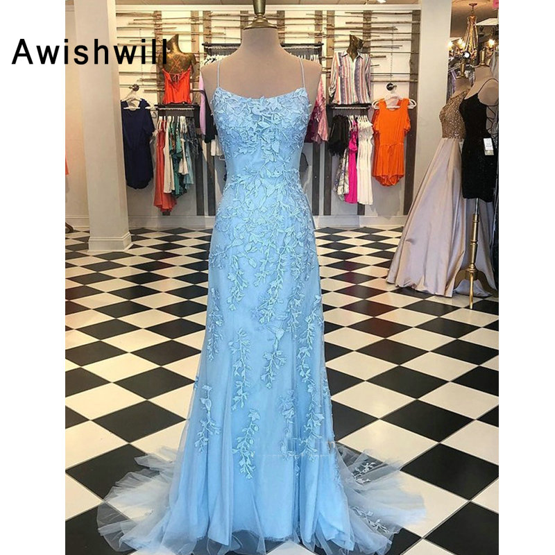Real Photos Vestidos de Gala Largos Elegantes Spaghetti Strap Beading Lace Appliques Open Back Long   Prom     Dresses   for Women