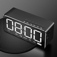 Mirror Alarm Clock Speaker Wireless Mobile Computer Mini Home Overweight Subwoofer Led Lights Small Stereo Smart Bluetooth