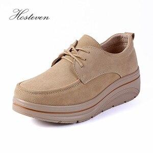 Image 2 - Hosteven/Женская обувь; кроссовки на плоской подошве; лоферы на платформе из коровьей замши; сезон весна осень; женские мокасины; женская обувь