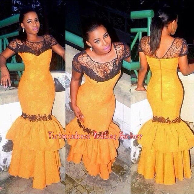 Yellow nigerian lace dresses