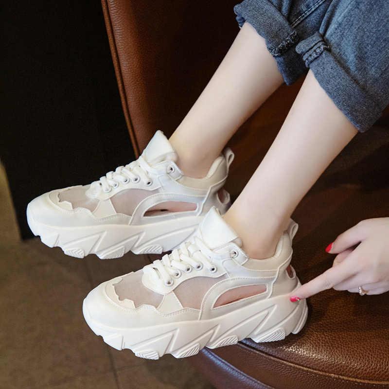 Casual schoenen vrouwelijke zomer ademend 2019 nieuwe dikke bodem muffin casual sandalen vrouwelijke mode oude schoenen hoge hak