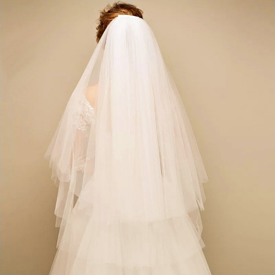 Simple Two Layers Short Tulle White Wedding Veils Cheap 2019 Ivory Bridal Veil for Bride for
