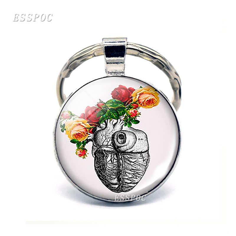 Coração anatômico chaveiro de prata chaveiro de metal de vidro chaveiro sinal de coração pingente biólogo médicos presentes