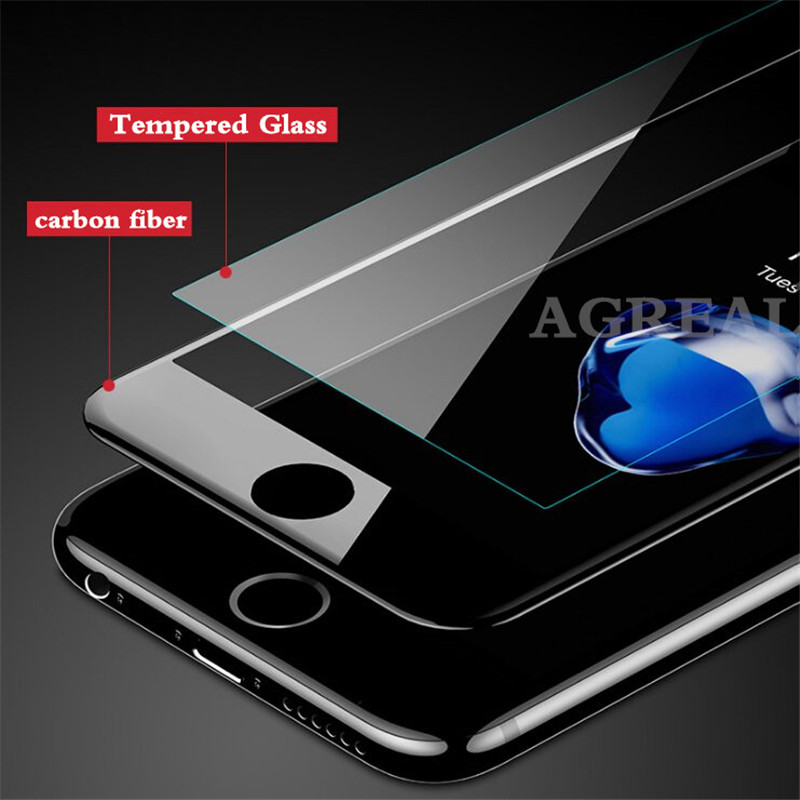 3D Curved Carbon Fiber Soft Edge Tempered Glass on iPhone 6 6s 7 8 Plus Screen Protector Film For iPhone 7 X XS Full Cover glass