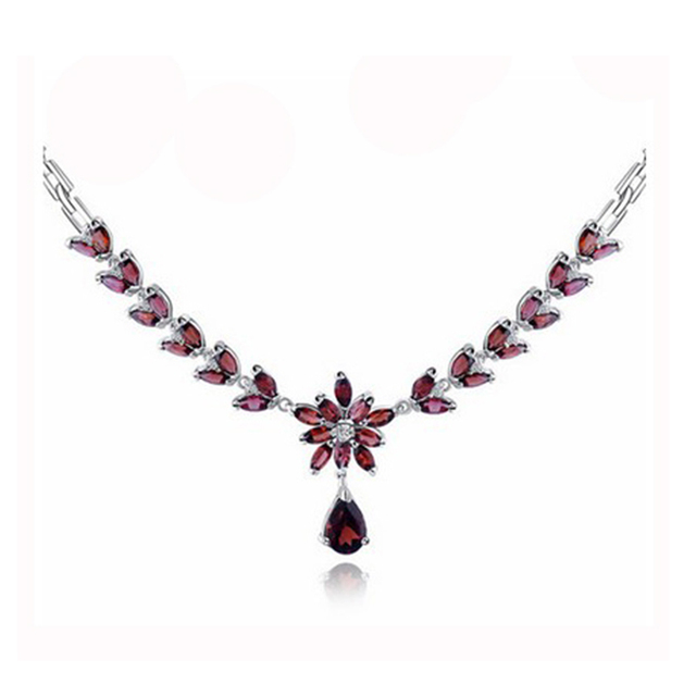 Luxury natural garnet wedding necklace pendant set for woman solid 925 silver red gemstone necklace natural garnet stone pendant