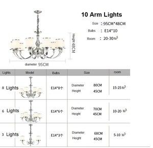 Image 5 - ברק המודרני Chrome מתכת Led נברשות תאורת גביש סלון Led תליון נברשות אורות שינה Led תליית אור