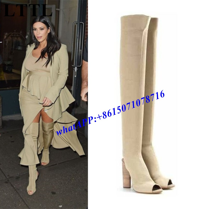 2017 New Arrival Runway Hot Brand Design Sexy Peep Toe Cut-out Army Green Stretch Knit Block Heel Women Thigh High Boots