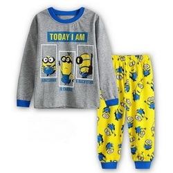UM % A-162 Crianças Pijama Set Crianças Meninos Das Meninas Do Bebê Dos Desenhos Animados Pijamas Pijamas de Manga Comprida Pijamas 2 3 4 5 7 6 anos de Alta Qualidade