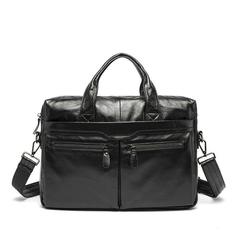 Nesitu Vintage Black Coffee Brown Real Skin Genuine Leather 14'' Laptop Office Men's Briefcase Portfolio Messenger Bags M9005