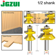 """2pc 1/2 """"Shank V Groove & Matched Tong Router Bit Set w/premium kogellagers Houtbewerking cutter RCT 15217"""
