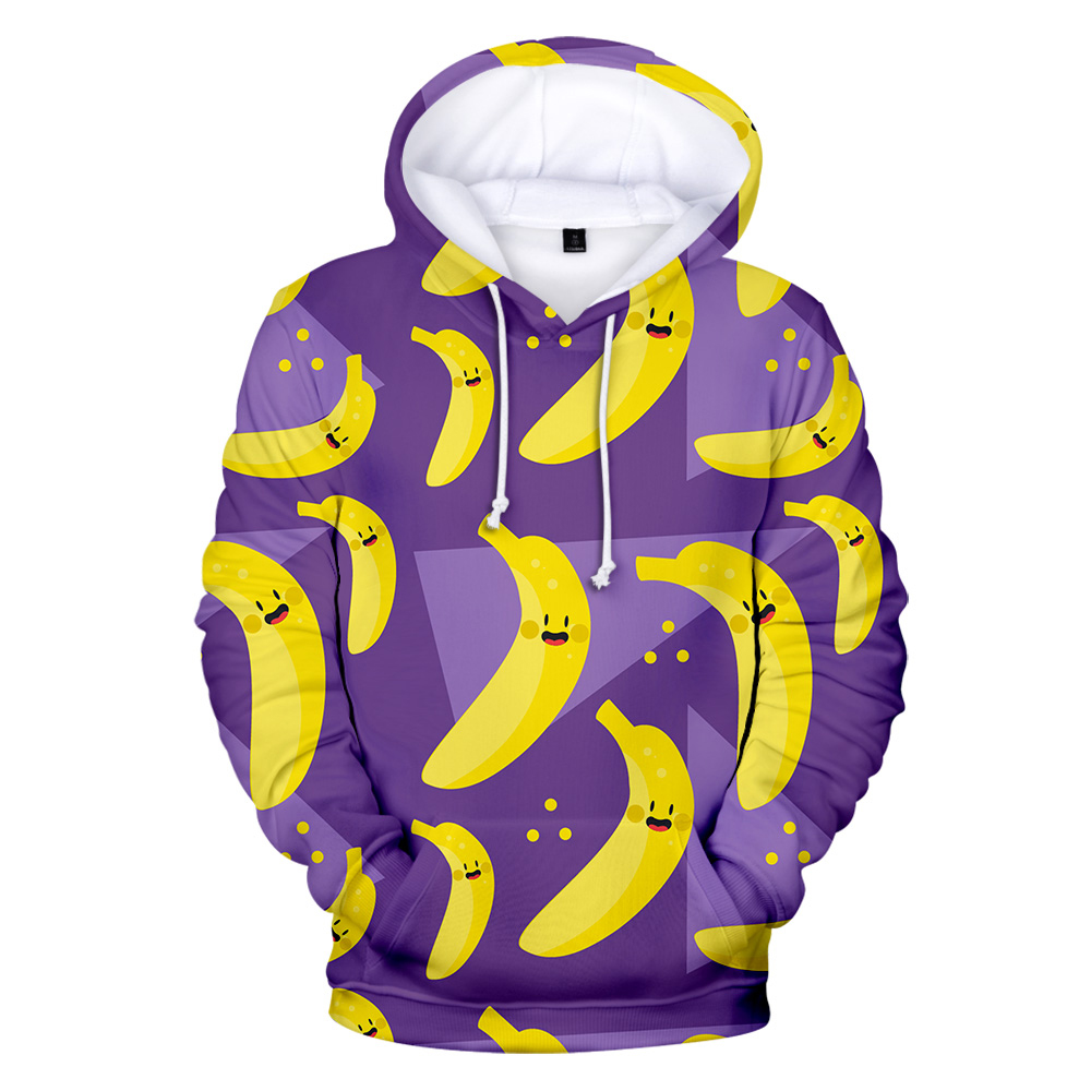 Purple 3D Fruits Hoodies Casual Sweatshirts Men Women Fashion Hooded New Printed Many Bananas 3D Hoodies Boys Girls Pullovers