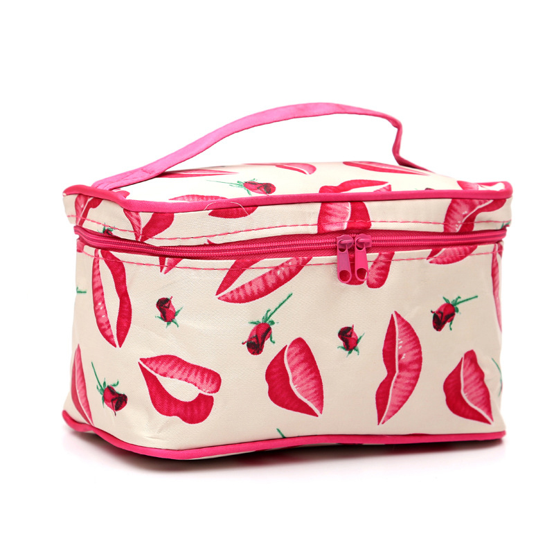 2018 New Floral Lip Makeup Bag Cosmetic Bag Large Capacity Storage Travel Wash Pouch Cosmetic Boxs Makeup Organiser Container