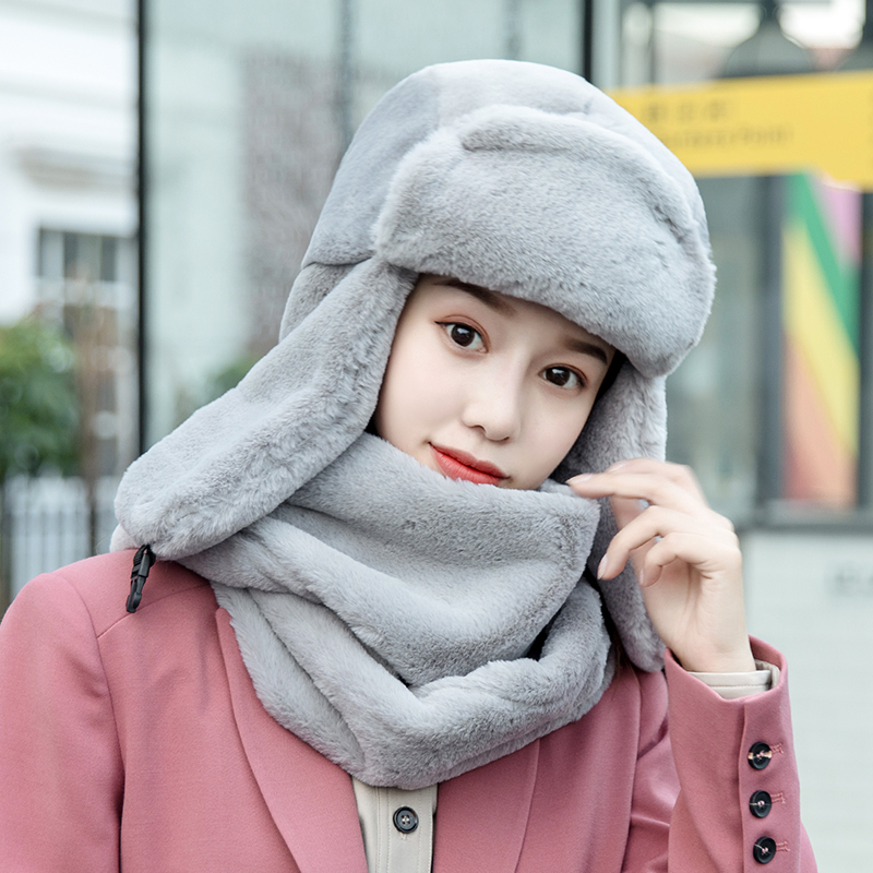 Girl Bomber Hat Women Winter Ear Protection Cold Proof Thickening Pure Color Cap Female Lady Cycling Hats Soft Scarf Set H7287