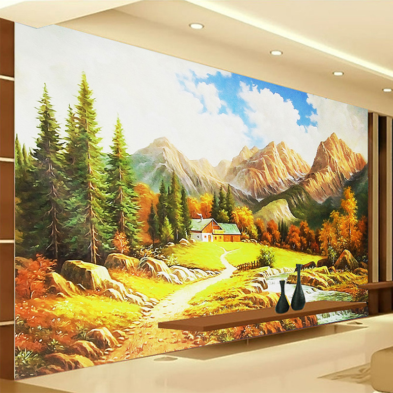 Custom Photo Mural Wall Paper 3D Landscape Oil Painting Fresco Nature Wallpaper Living Room Bedroom Backdrop Wall Home Decor 3 D custom 3d stereoscopic large mural wallpaper wall paper living room tv backdrop of chinese landscape painting style classic