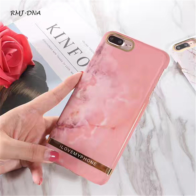 wholesale dealer a267f f0bad US $3.99 |RMJ DNA Pink Marble Gold plated Cover Case For iPhone X Ultrathin  PC Hard Back Cases For iPhone 8 7 6s Plus Coke Phone Bags Cose-in ...
