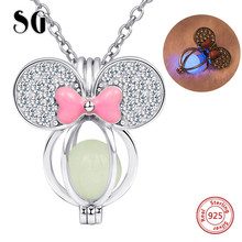925 sterling silver lovely Mickey Mouse charm glowing pendant chain necklace with CZ&pink enamel diy fashion jewelry making gift недорого
